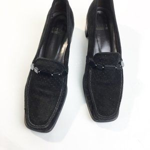 Stuart Weitzman Black Suede Beading Detail Loafers